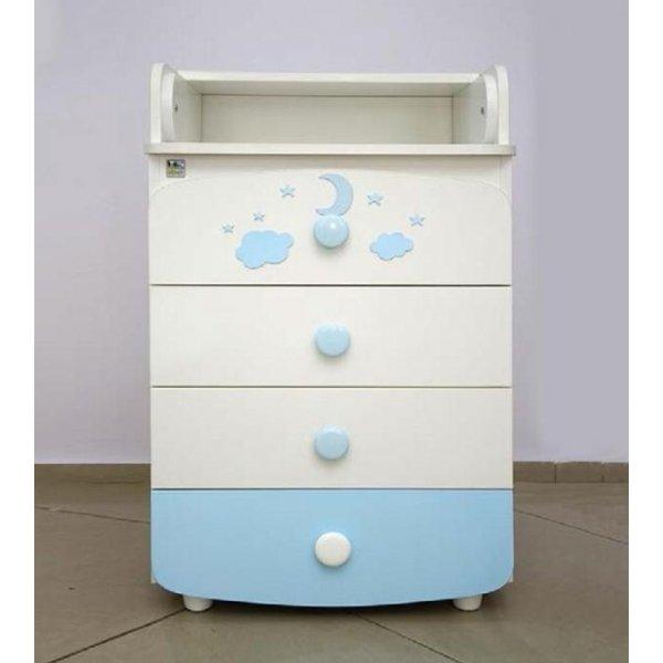 Комод-пеленатор Верес (600) бело-голубой аппликация, арт. 26.07